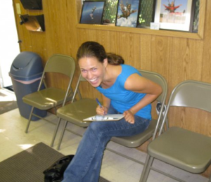 This is me signing the death waiver before going sky diving for the first time.